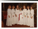 Female students dressed for Bethel's Festival of Christmas in St. Lucia costume 1980