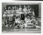 Bethel College women's basketball team photo silly pose ca. 1980