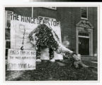 Homecoming decoration in front of Bethel College dormitory 1958