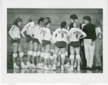 Women's volleyball team huddles on the sideline