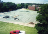 First day of construction of Heritage Parking Lot on site of old tennis courts