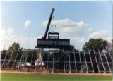 Press box being hoisted into position on new bleachers 2