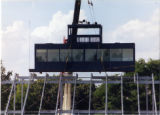 Press box being hoisted into position on new bleachers 3