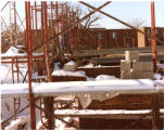 Outside shot of Getsch Hall construction scaffolding, facing Bodien & Edgren