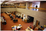 Interior view from second floor to first floor library