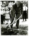 Arnold Wicklund with shovel at Groundbreaking Ceremony