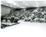 Wide shot of students in Robertson Center Gym during Chapel Service