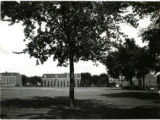 Wide shot of back lawn of Dormitory Row