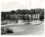 Distant view of Nelson Hall under early construction