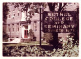 Bethel College and Seminary sign in front of main building