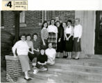 Bodien Dorm Council, group of female students outside on steps