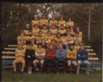 Men's Soccer team photo with yellow jerseys